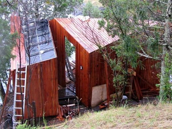 construction backside wood sauna design