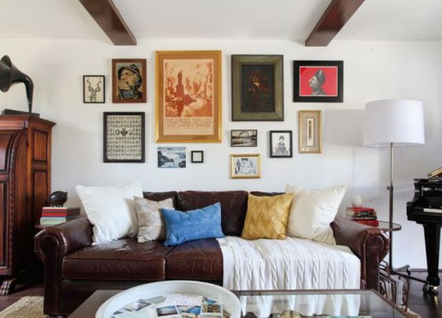 gallery wall with different vintage frames