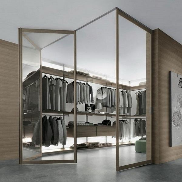 folding in reward walk-in wardrobe brown floor glass gray indirect lighting