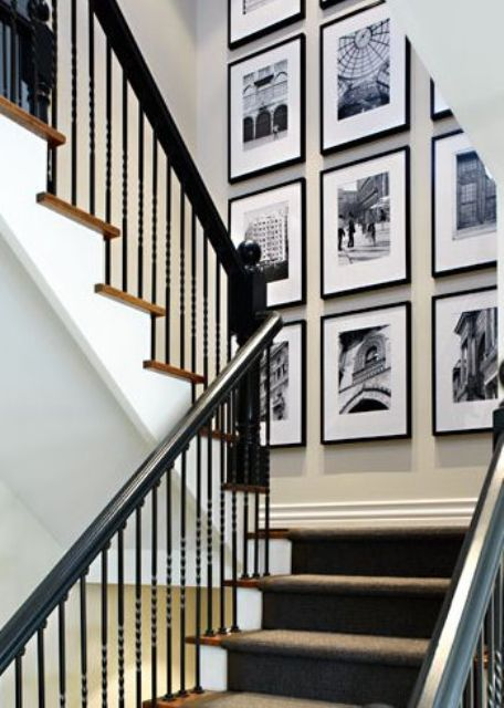 same size frames on a landing wall