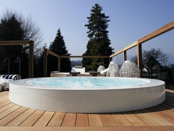 Whirlpool garden minipool zucchetti round white wooden floor outdoor luxury