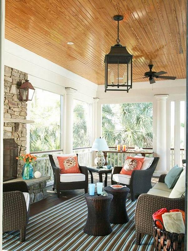 Furnishing ideas conservatory porch blue rattan furniture fireplace