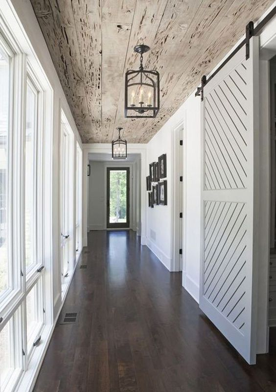 reclaimed wooden ceiling for a hallway