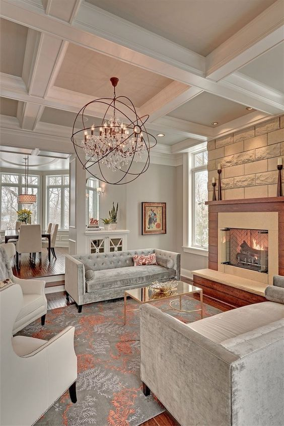 grey and white living room coffered ceiling