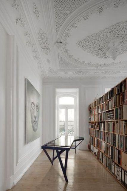 extensive vintage ceiling molding