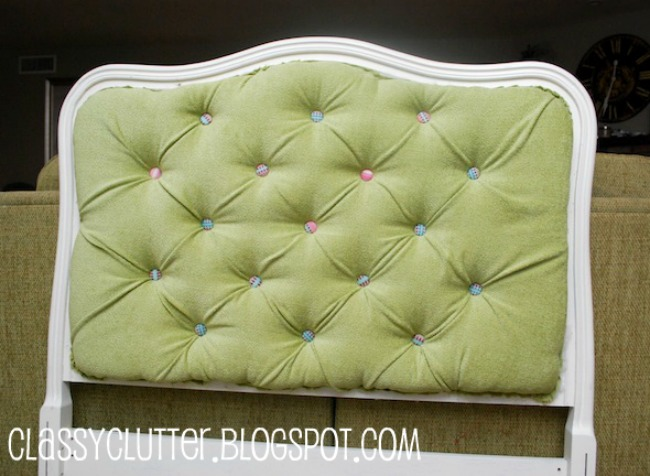 DIY upstered tufted headboard with colorful buttons