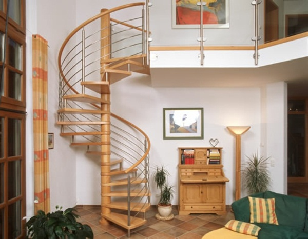 Spiral staircase with railing railing stainless steel