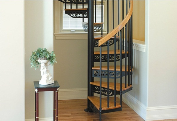 spiral staircase in the apartment