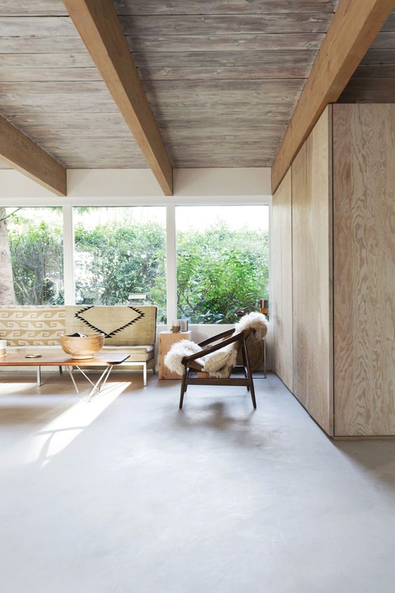 weathered wooden ceiling with beams
