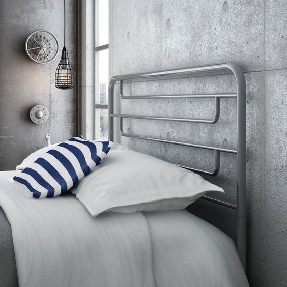 minimalist grey metal headboard