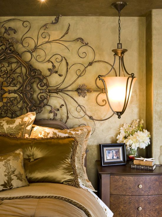 Mediterranean style metal screen headboard