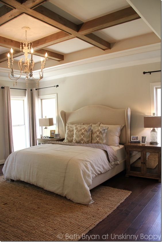 wood and white coffered ceiling for a bedroom