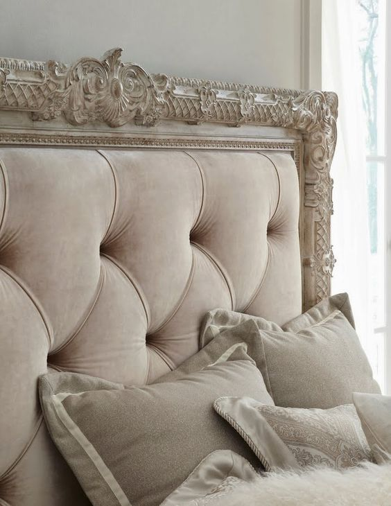 French styled framed tufted headboard