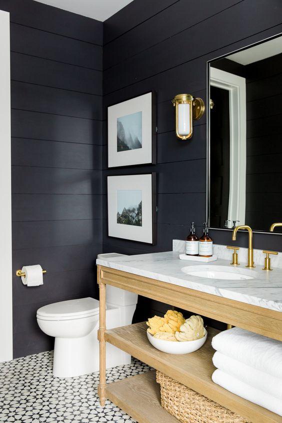 Black walls in the Powder Bath    Studio McGee: