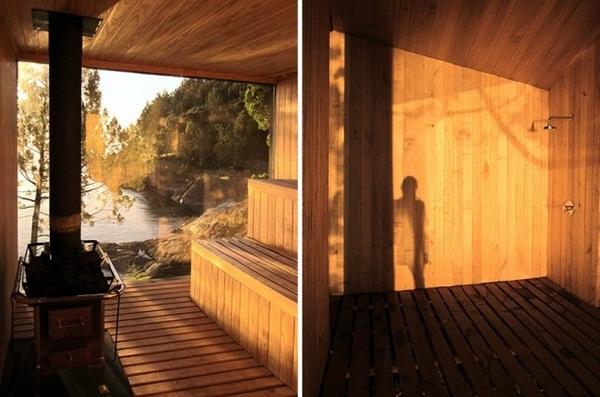 wide panoramic window wood sauna design