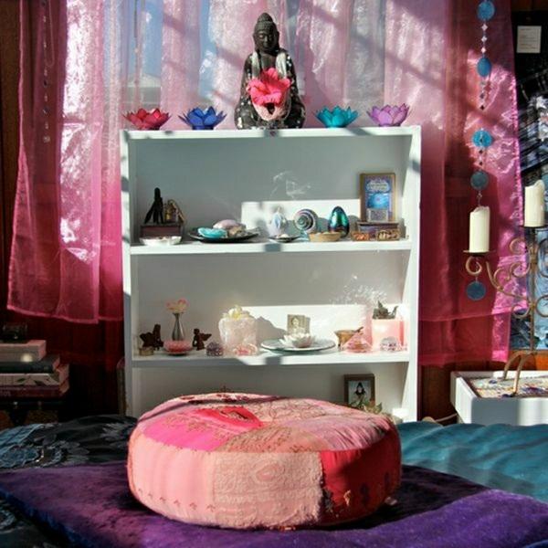 Meditation room Asian style Buddha statue candle meditation cushion