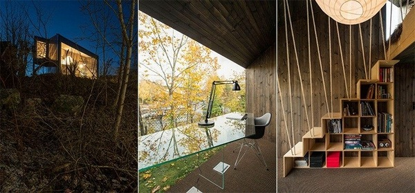 panoramic windows asymmetrical arbeotszimmer interior design modern house architecture