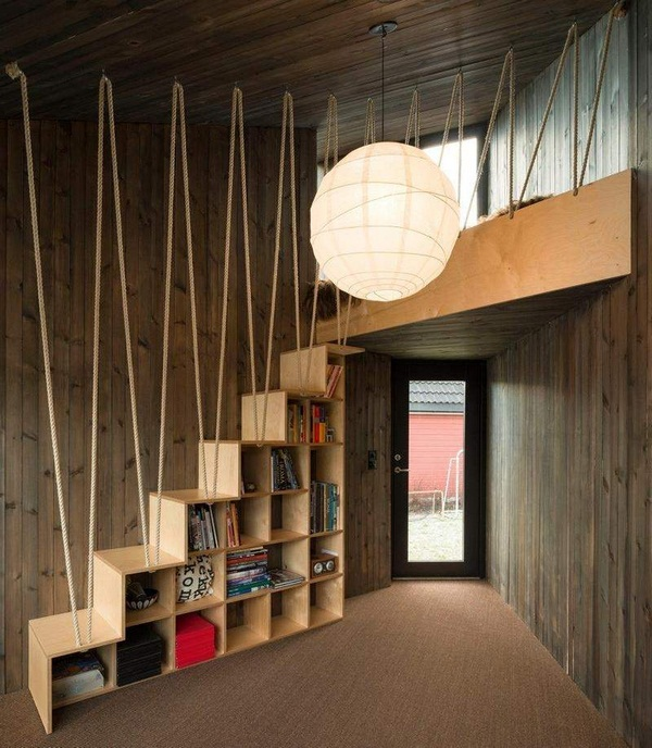 panoramic windows work rooms of asymmetrically house Andre tiling wood wall rope handrails