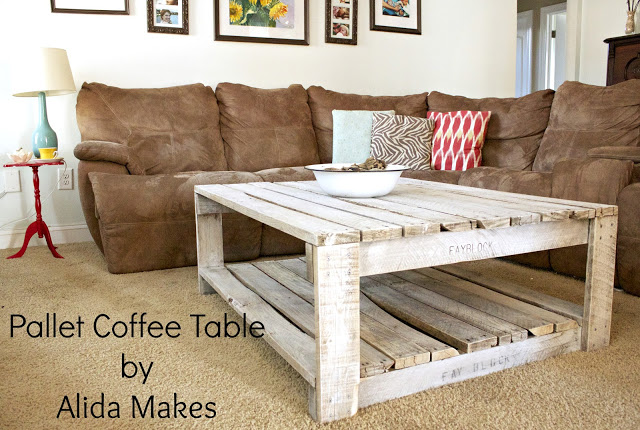 DIY distressed and whitewashed pallet coffee table