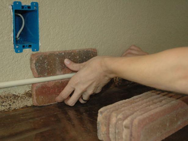DIY brick backsplash installation