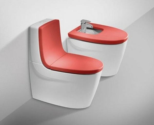 Orange toilet lid design