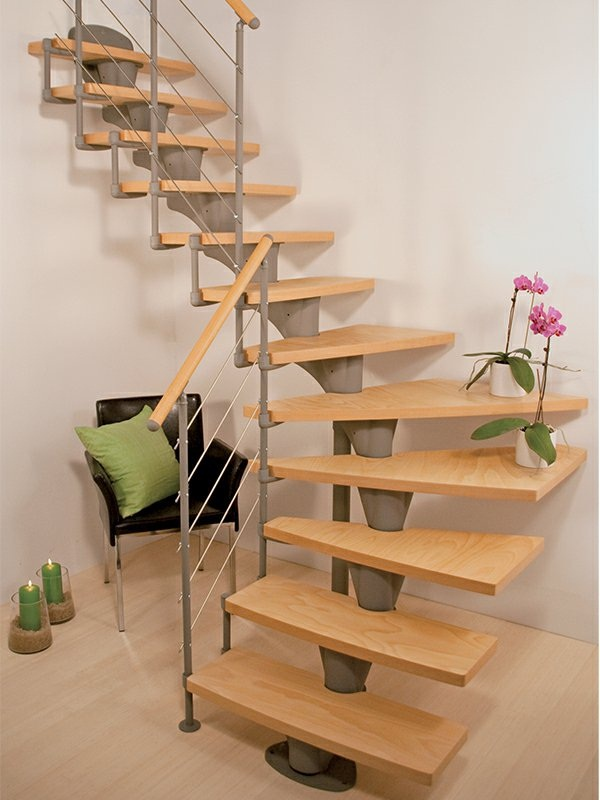 Space-saving stairs living idea compact stairs wood