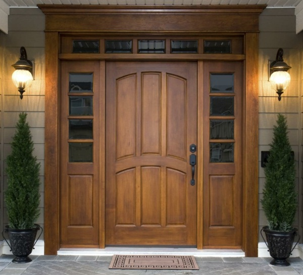wooden modern house doors plant design green