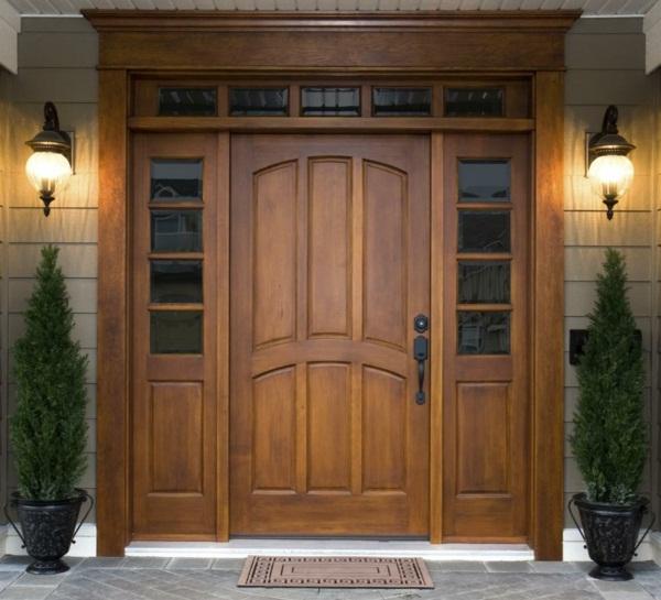 wooden modern house doors plant design green