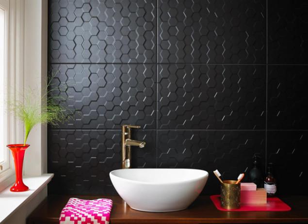 British Ceramic Tiles Form and Function Hex Black Matt Tiles