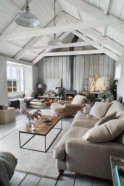 whitewashed wooden ceiling with sculptural beams