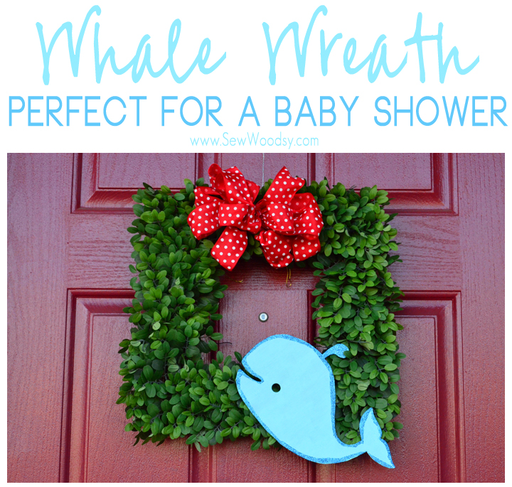 DIY whale wreath for a baby shower