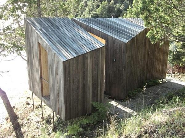 Upper view backside wood sauna design
