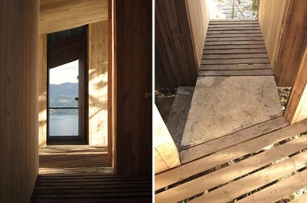small stone bridge wooden sauna design