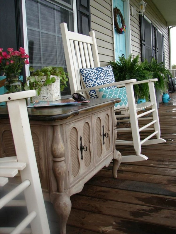 free glazed wooden covered porch dining area