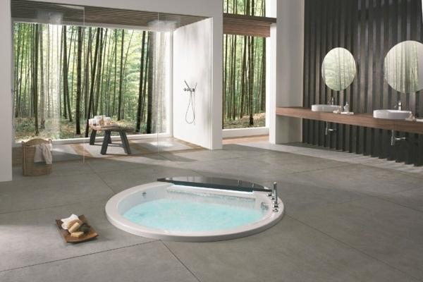 Bathroom design Bamöbel stone tiles tub
