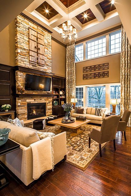 dark wood and white coffered ceiling for a living room