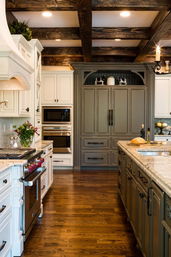 dark wood and white kitchen coffered ceiling