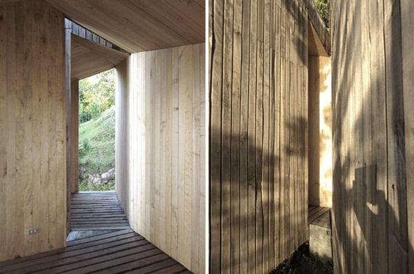bright wood material wood sauna design