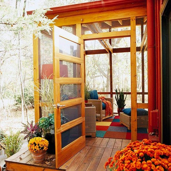 small glazed furnishing ideas conservatory autumn colors
