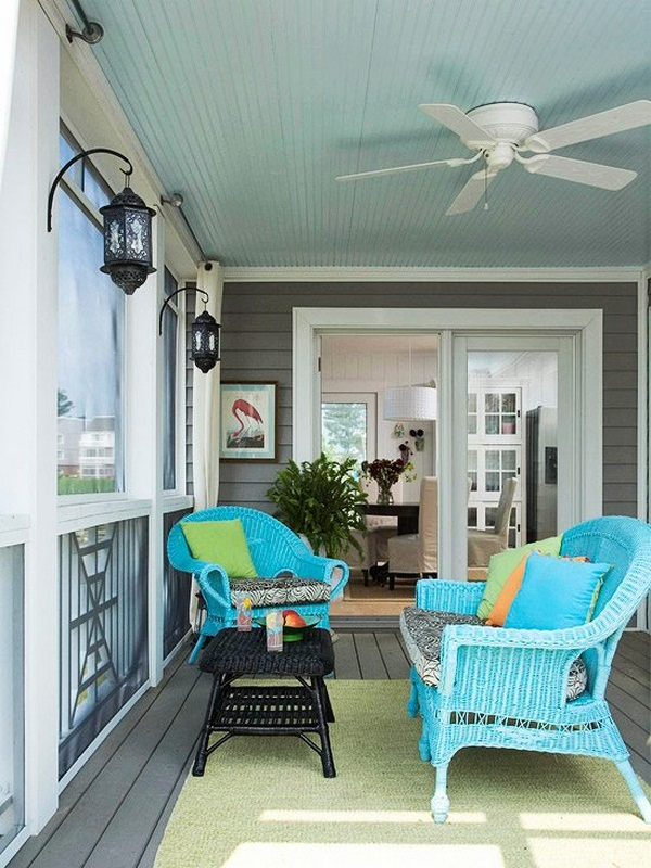 small veranda gray light blue rattan chairs