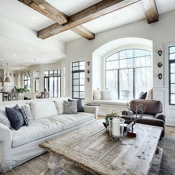 weathered wood and white living room coffered ceiling