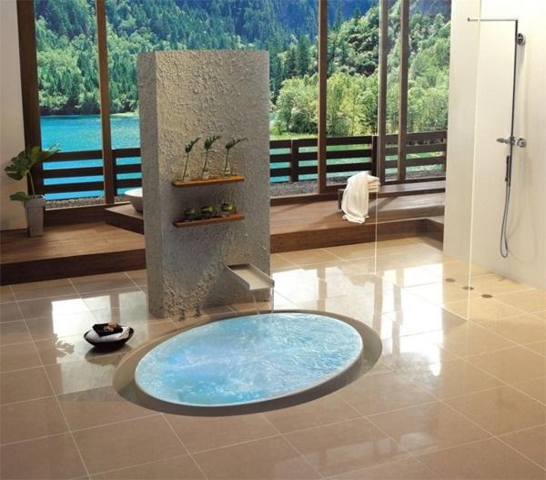 Cubed built-in wall bathroom Bath stone