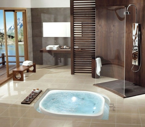 brown beige bathroom design whirlpool bath design