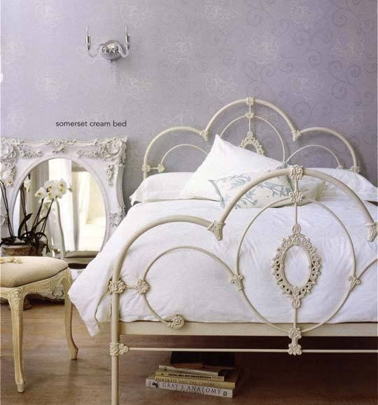 cream vintage metal headboard