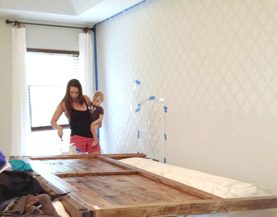 DIY stenciled accent wal