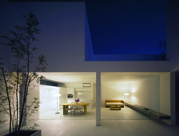 House concrete architecture modern minimalist courtyard wall glazing