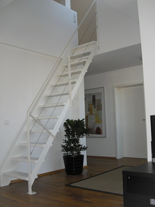 flat steel stairs cheek in white color