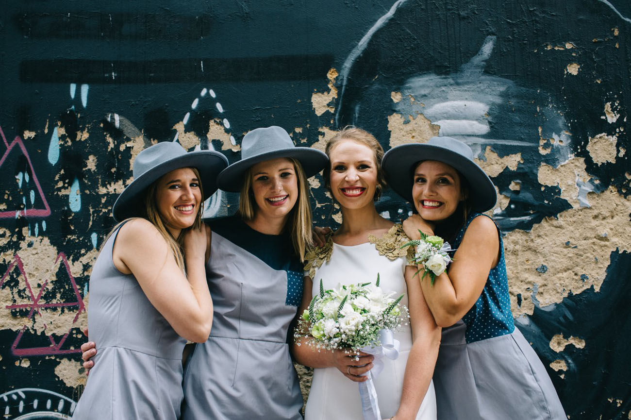 bridesmaids in hats