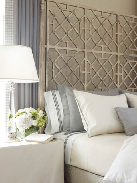 rough metal geometric headboard