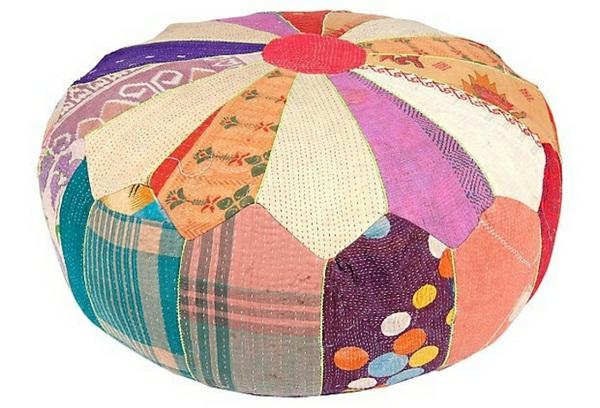 Patchwork cushion colorful yoga meditation